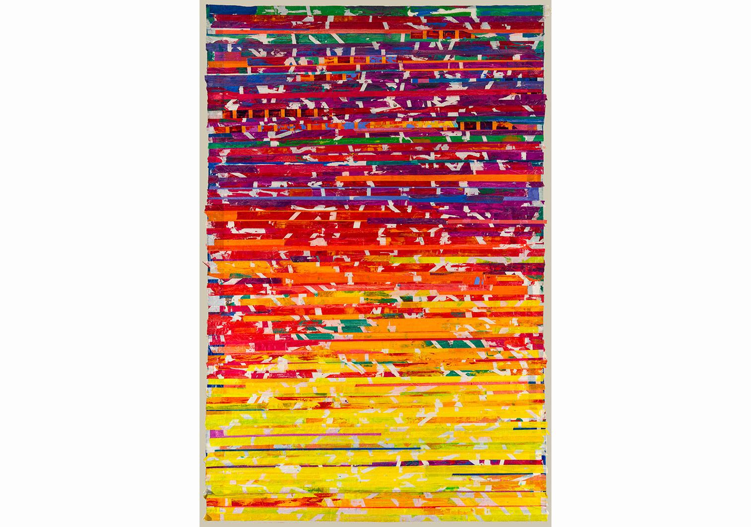 Seçil Erel, Olduğu gibi 1, 2016, kağıt üzerine maskeleme bandı ve yağlı boya, 160x105cm