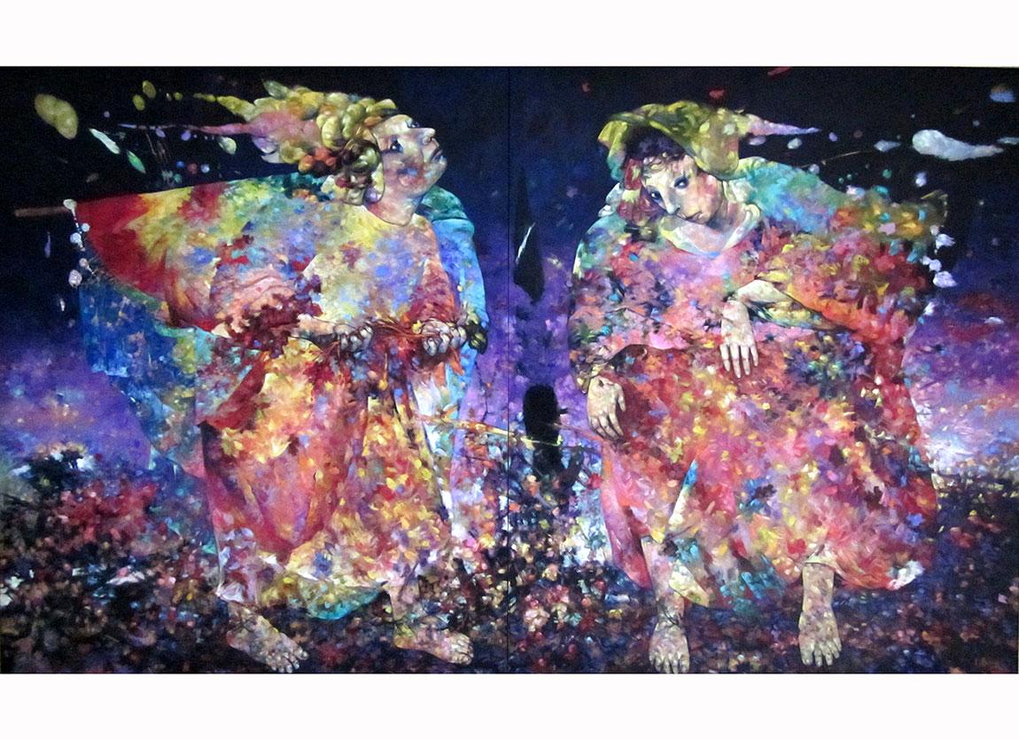 Alaaddin Aksoy, Günyenisi Silüetleri, 2004. Tuval üzerine yağlıboya, 150x202 cm