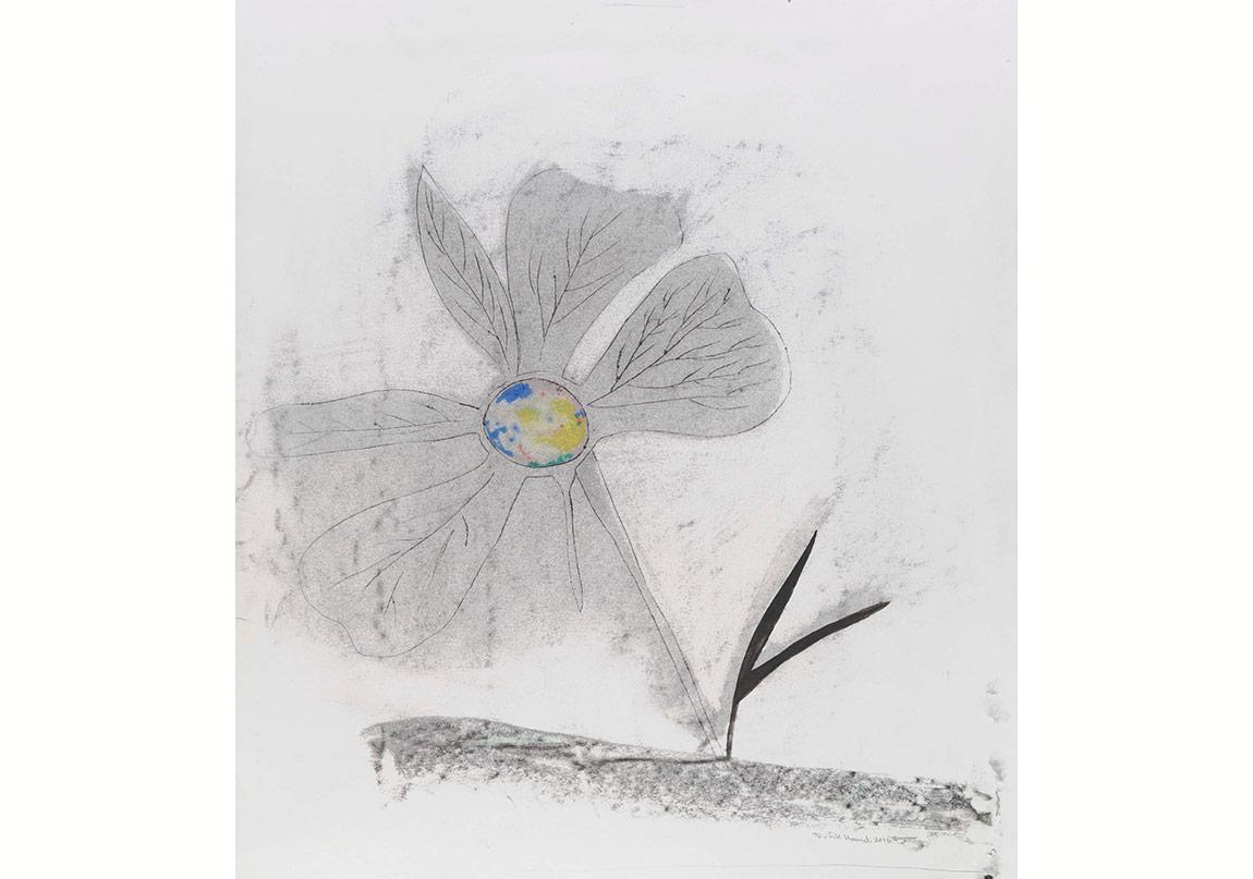 Toufic Hamidi - Flower 2015 34x49 cm, kağıt üzerine gravur baskı