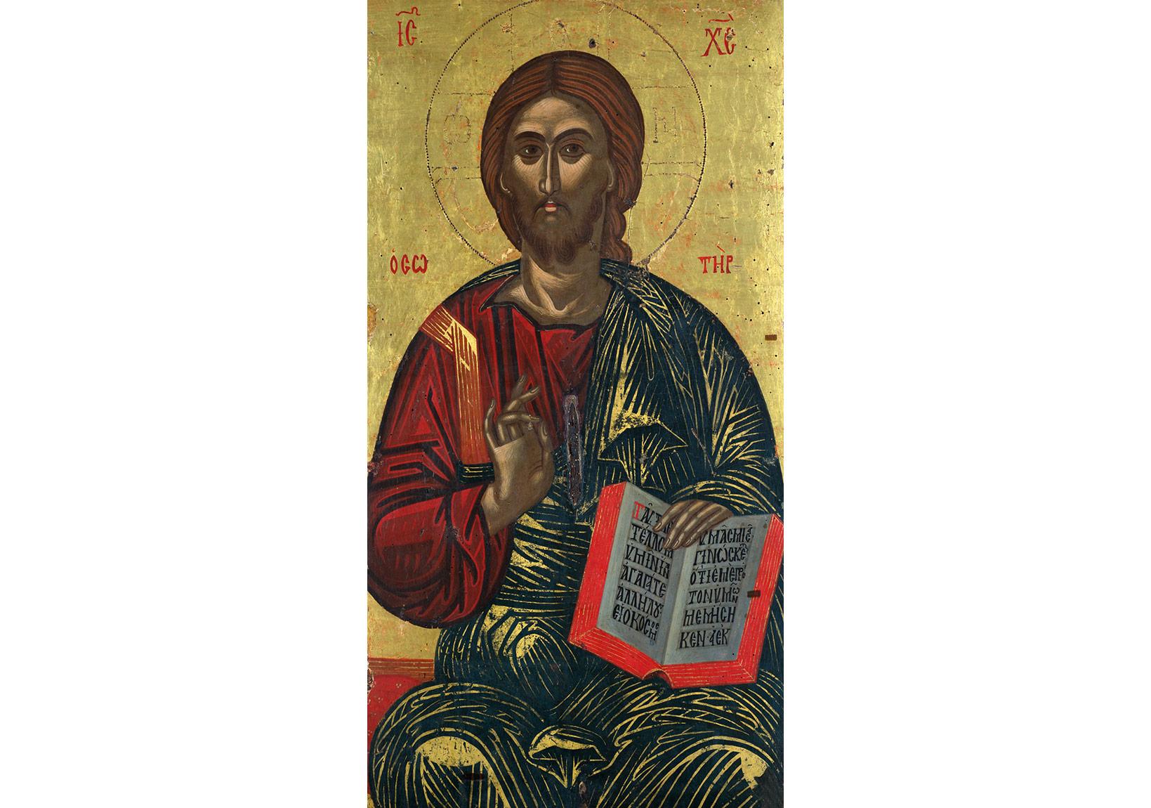 Aziz Panteleimon ve İsa Mesih'in çift yüzlü ikonası, İsa yüzü: 17. yüzyıl ortası, Kastoria, Bizans Müzesi, env. no. ΑΚ 72/72 /.
