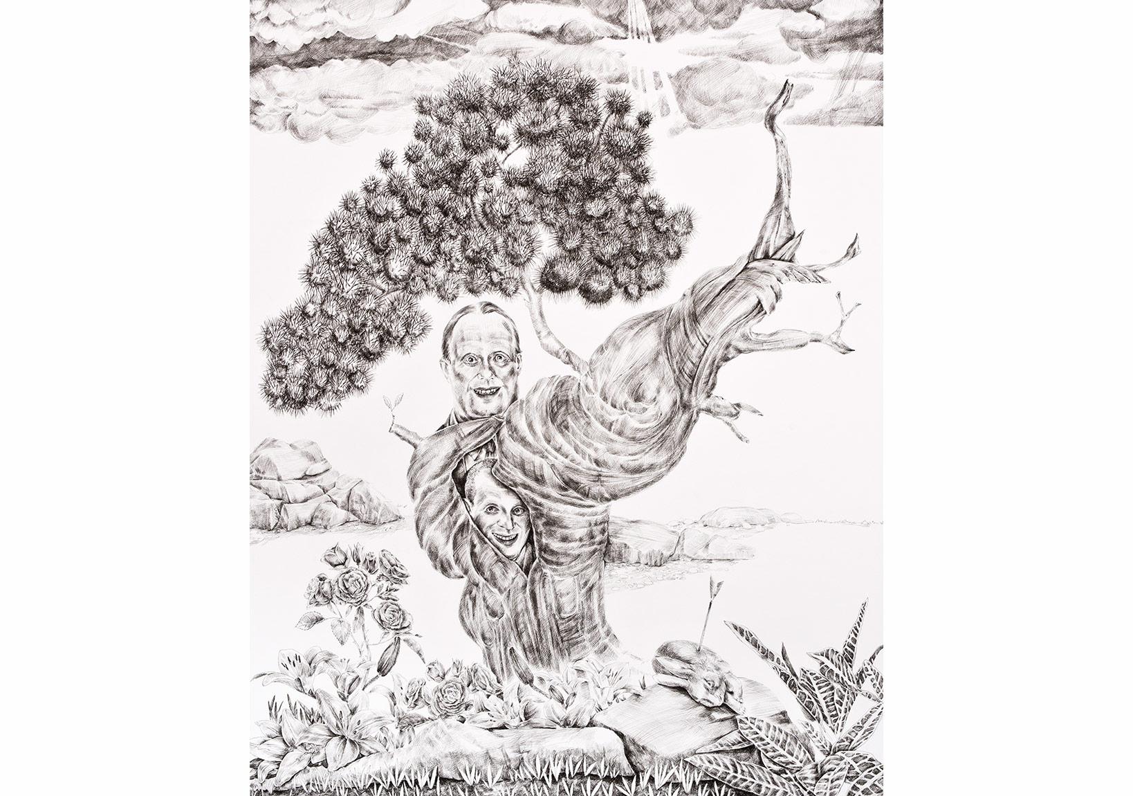 """Ali Elmacı, """"Silahlar Çekilince Gölgeler Büyür I""""Kağıt üzerine mürekkep, 120 x 94.5 cm, 2015"""