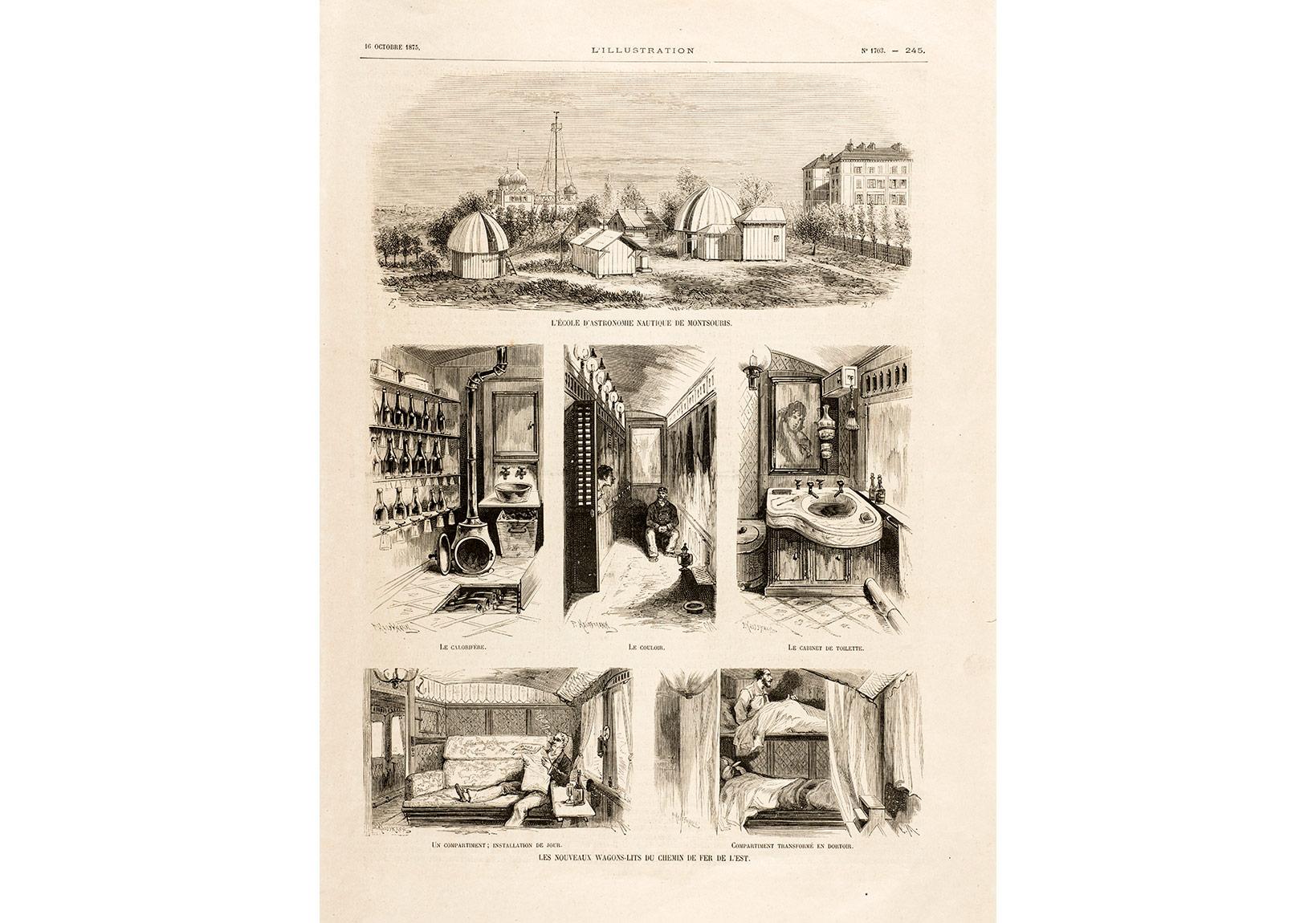 Les nouveaux Wagons-Lits des Chemins de fer de l'Est [Şark Demiryolları için Yeni Yataklı Vagonlar] L'Illustration, 16 Ekim 1875, Pierre de Gigord Koleksiyonu.