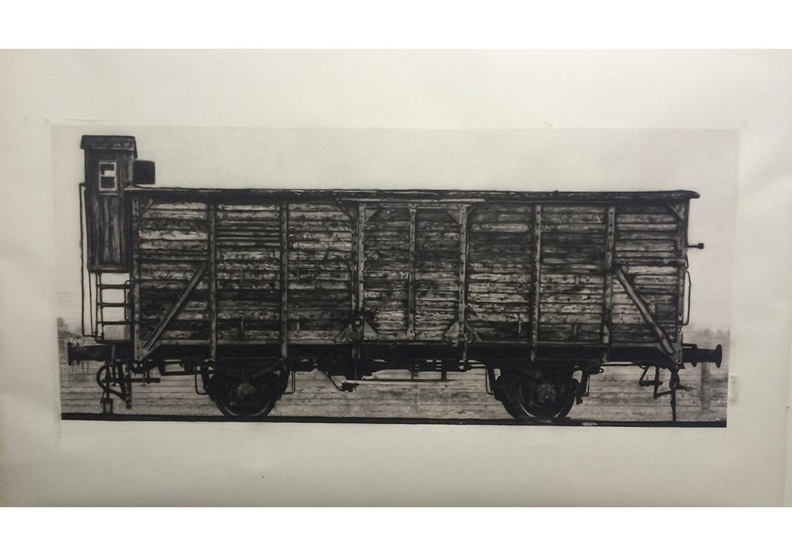 Tunca SubaşıArca, 2015Asitsiz kağıt üzerine füzen100 x 210 cm