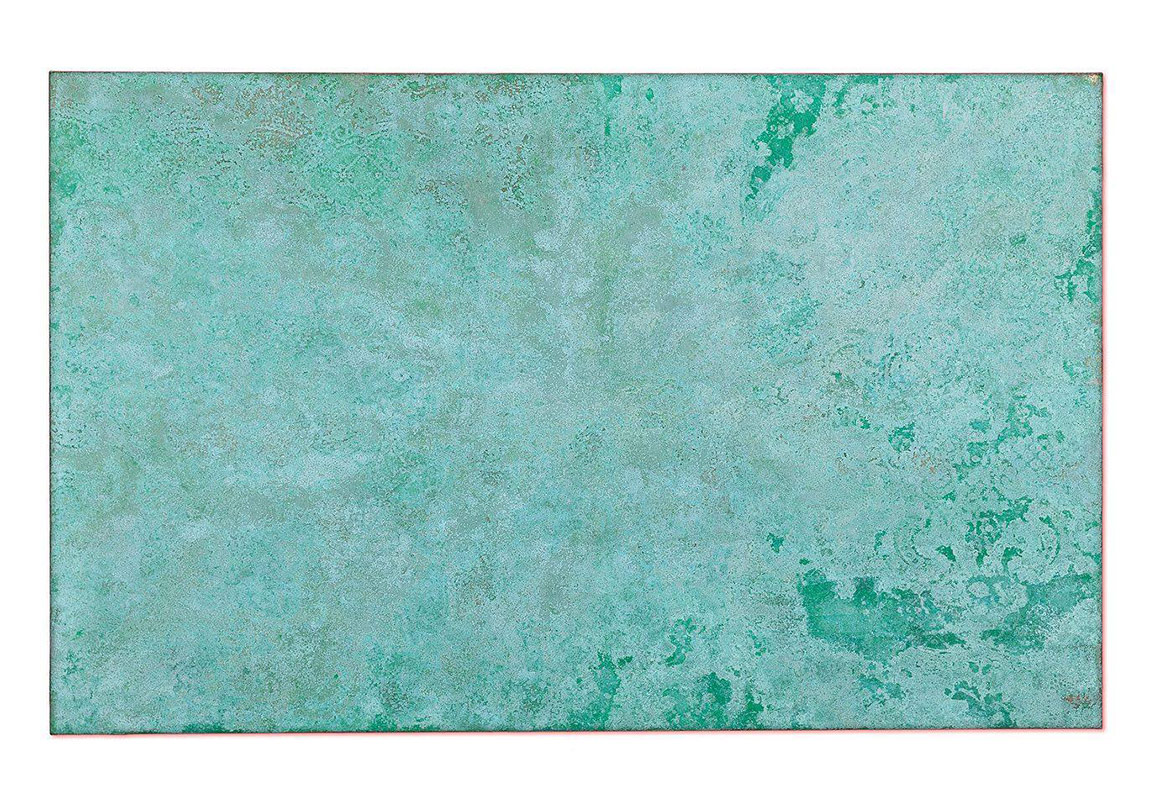 [Isabella Sedeka, Green Synapse, 2015, Acrylic, gold & silver leaf on canvas, 100 x 160 cm.]