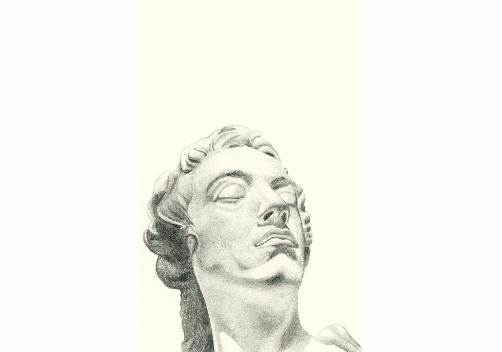 """Seda Hepsev, """"Yorgun"""", kağıt üzerine desen, 14.5 x 9.5 cm, 2015"""