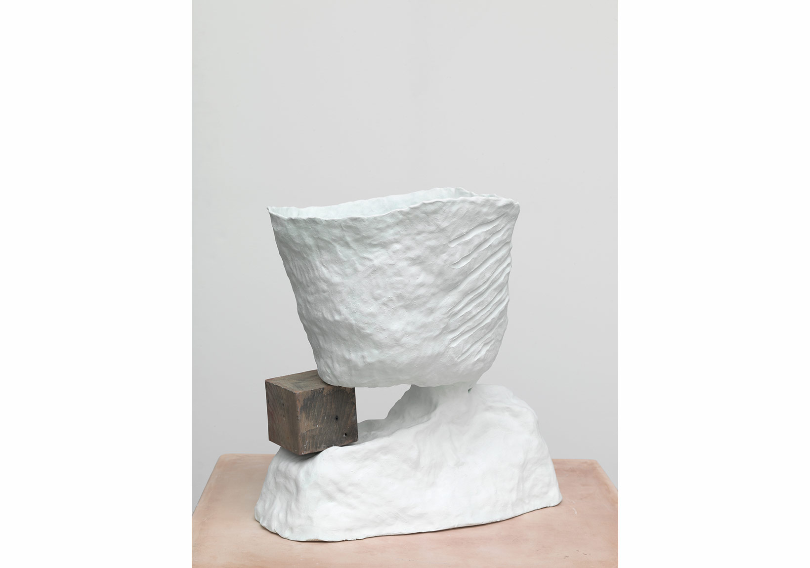 Katie Cuddon, Cool Speech, 2013, Painted ceramic, plaster, wood, 55 x 49 x 49 cm