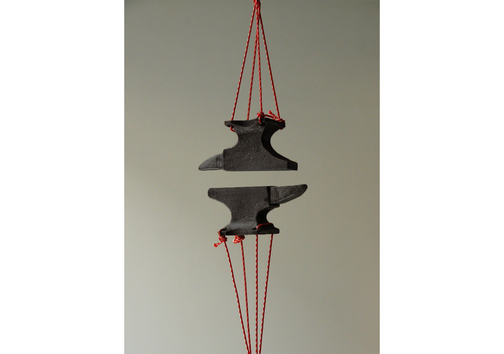 '14 millimetres', bronze, magnet, string, 2011.