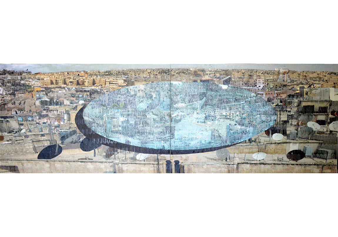 Azade KökerAleppo II / Halep II, 2016Tuval üzerine karışık teknik / Mixed media on canvas130 x 400 cm (diptik / diptych)
