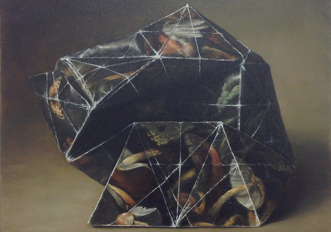 Filippo Caramazza, Aviary II, 2012, oil on linen, 56 x 51 cm