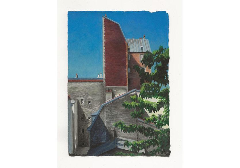 Cour rue Martin Bernard, Louise Sartor, 2018, Gouache on cardboard, 19.4 x 13.5 cm, CREVECOEUR