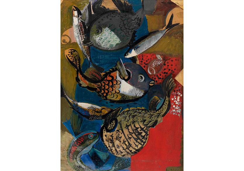 Balıklar, 1956 Karton Üzerine Yağlıboya