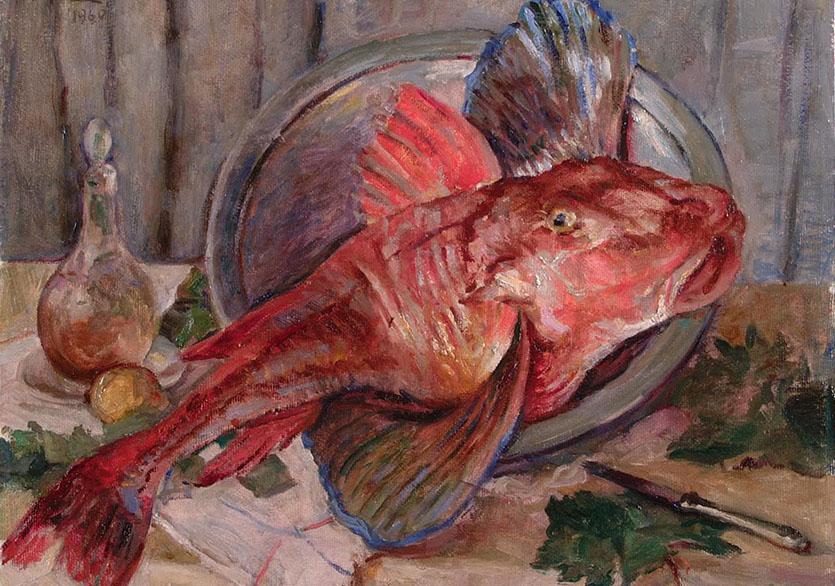 Feyhaman Duran (1886-1970)Balıklı Natürmort, 1960Duralit üzerine yağlıboya61 x 49,5 cmSakıp Sabancı Müzesi Resim Koleksiyonu