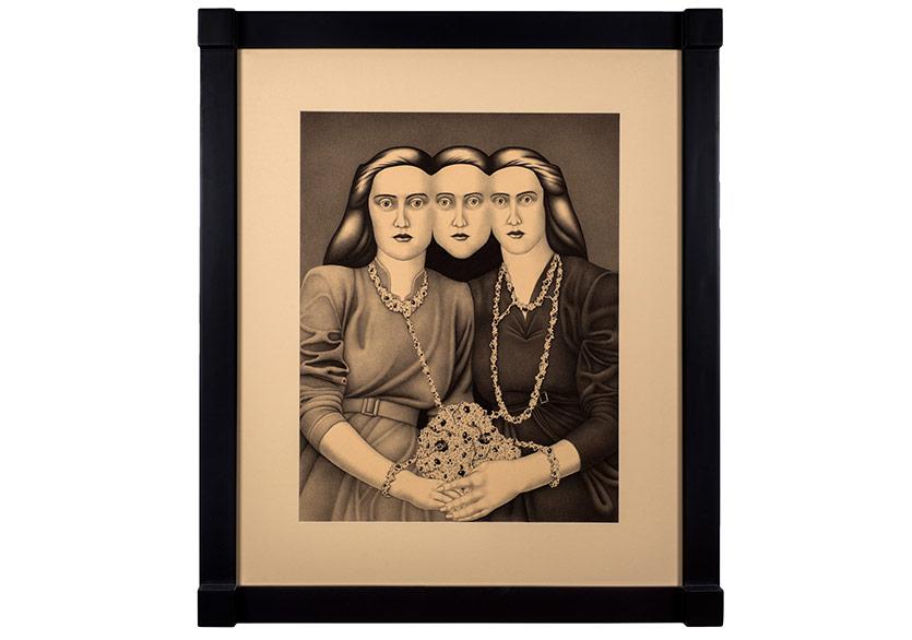 Erinç SeymenÜç Kız Kardeş, 2017Kağıt üzerine mürekkepli kalem 96 x 82 x 6 cm