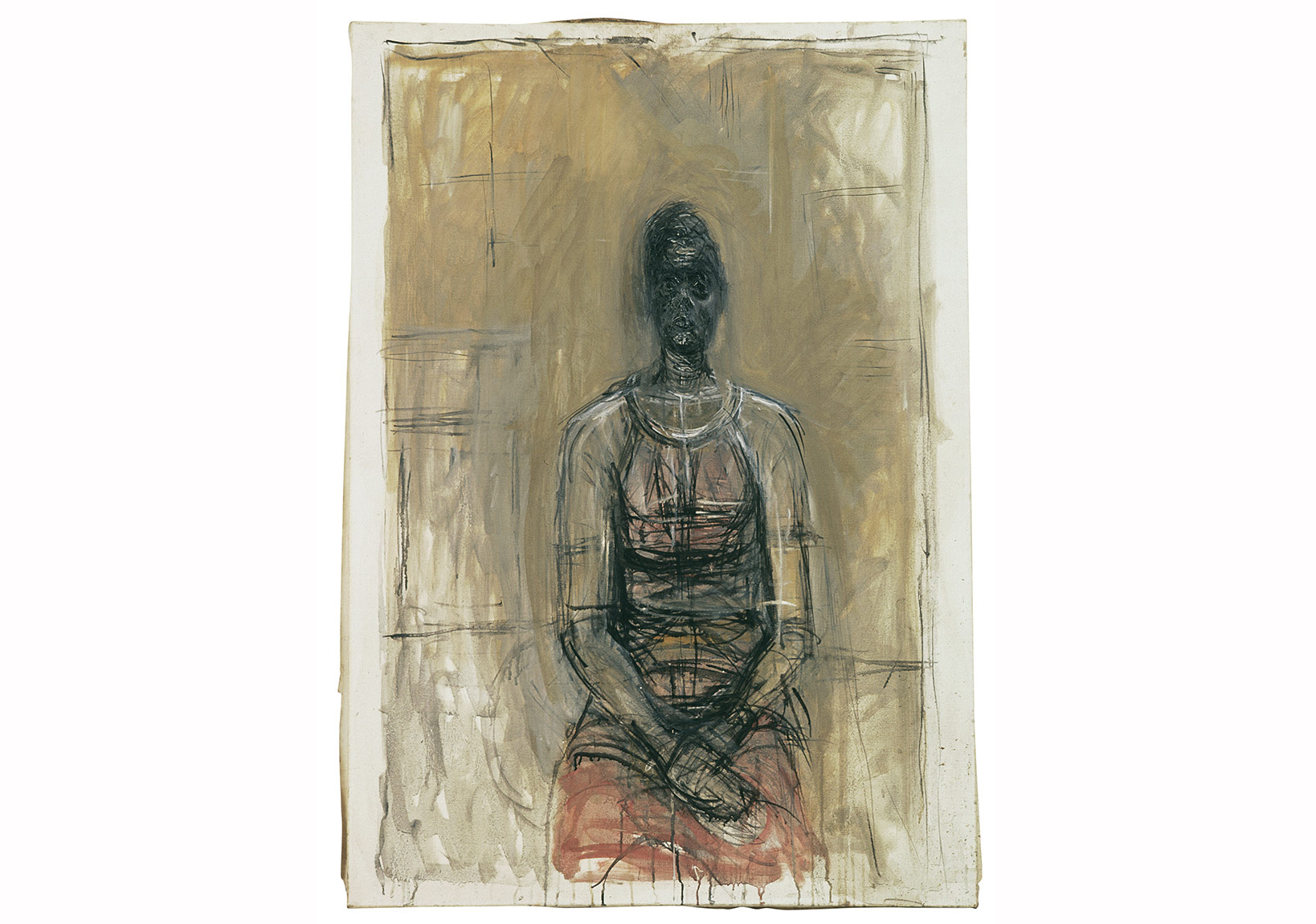 Alberto Giacometti, Kırmızı Elbiseli Caroline, yak. 1964- 1965 Caroline in a Red Dress, c. 1964-1965 Tuval üstüne yağlıboya / Oil on canvas 92,3 x 65,4 cm Giacometti Vakfı Koleksiyonu, Paris, env. 1994-0619 Giacometti Foundation Collection, Paris, inv. 1994-0619 © Estate Giacometti (Fondation Giacometti + ADAGP) Paris, 2015