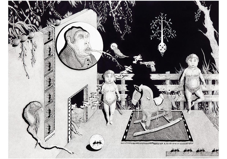 The Gathering ( Meclis ) - 200 x 150 - Tual üzerine akrilik ve akrilik kalemi. - 2015