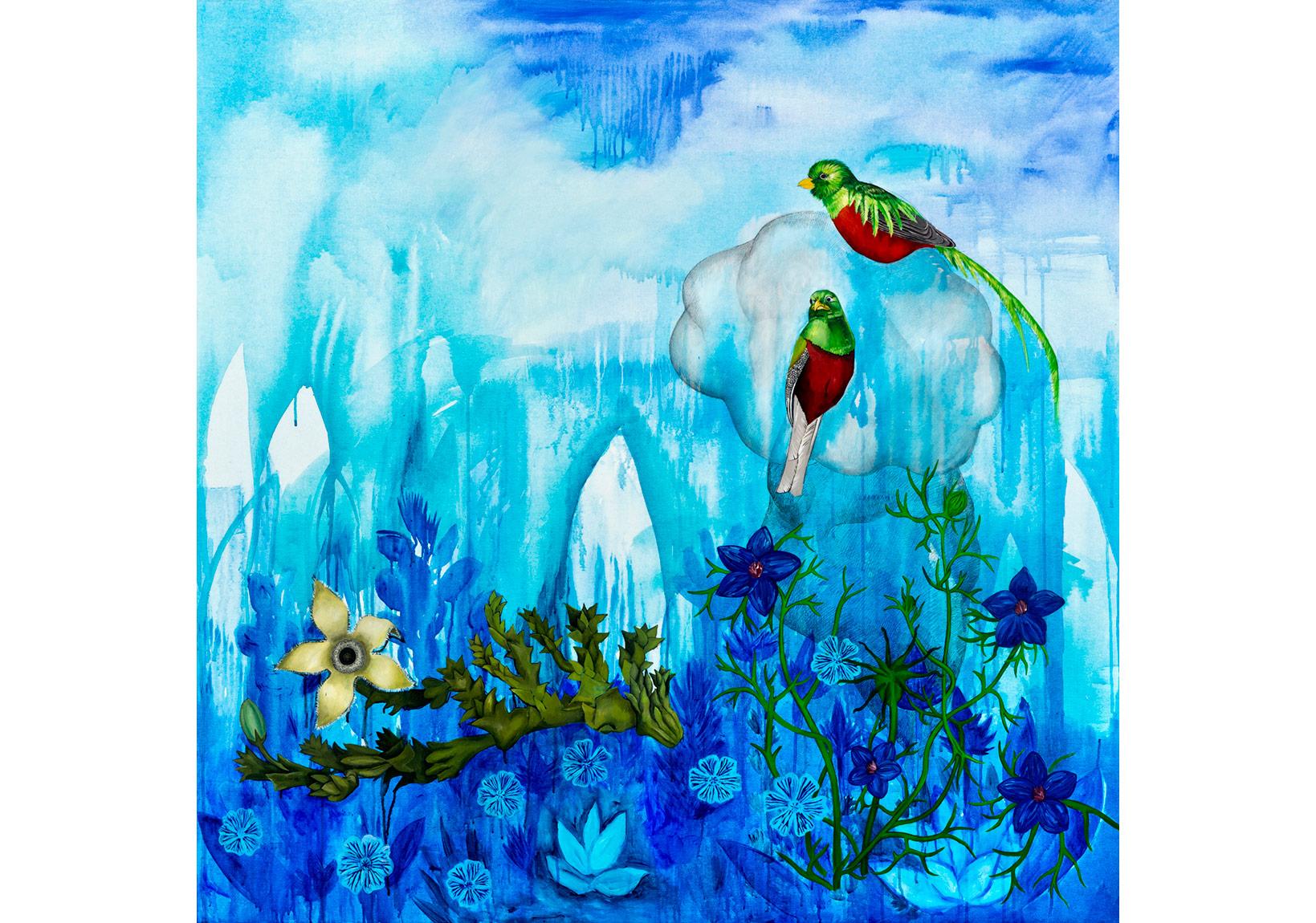 Ekin Saçlıoğlu, Yeni Dünya - Bulut, tuval üzerine akrilik, 150 x 150 cm, 2015