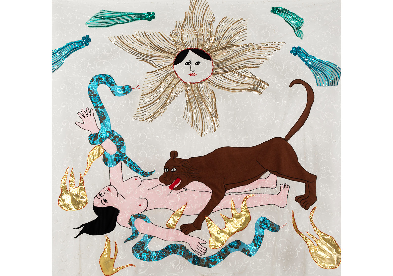 CANAN 'Güneş: Aslanlı Kadın' Işıl Işıl Karanlık serisinden / 'Sun: Woman with Lion' from the series Shining Darkness, 2015Tül üzerine kumaş, ip ve payet / Fabric, thread and paillette on tulle182 x 200 cmSanatçı'nın ve Rampa'nın izniyle / Courtesy the artist and Rampa Fotoğraf / Photograph: André Carvalho and Tugba Karatop - Chroma