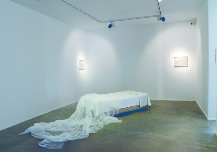 Leyla Gediz - İsimsiz Diptik (kadehler), 2011, Tuval üzerine yağlı boya, her biri each 30x40 cmİsimsiz - (Yatak), 2017, Tek kişilik baza, şilte, astarlı tuval bezleri, hışır örtü, 95x200x50 cm