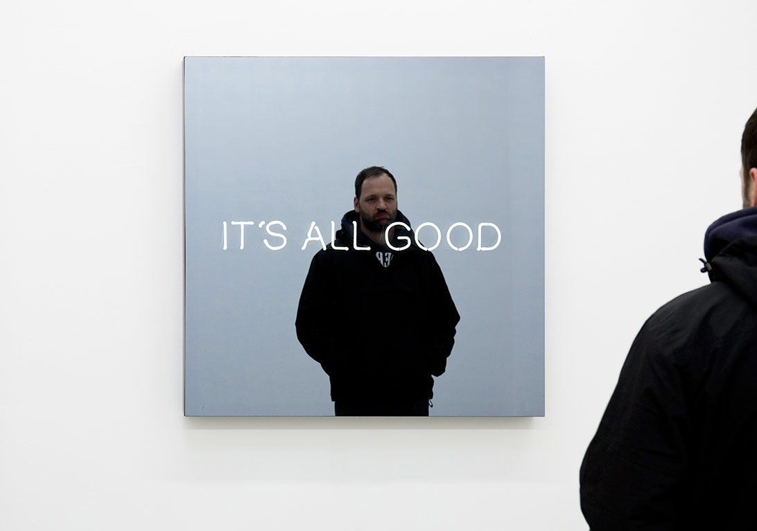 JH/S 456/01, Jeppe HeinIT'S ALL GOOD, 2015powder coated aluminium, neon tube, two-way mirror, powder coated steel, transformers100 x 100 x 10 cm; 39 1/3 x 39 1/3 x1/3 + 2AP