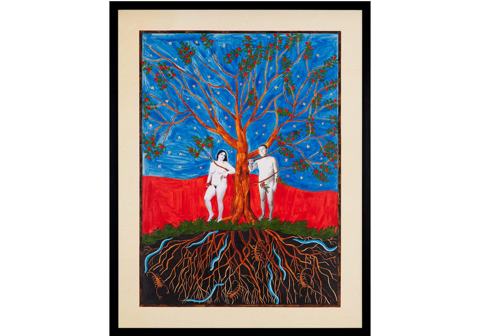 Hayat Ağacı / The Tree of Life, 2014Aherli kağıt üzerine mürekkep, altın ve fotoğraf / Photograph, gold and ink on special paper65 x 50 x 3.5 cm (çerçeveli/framed)Sanatçı'nın ve Rampa'nın izniyle / Courtesy the artist and RampaFotoğraf / Photograph: André Carvalho and Tugba Karatop - Chroma