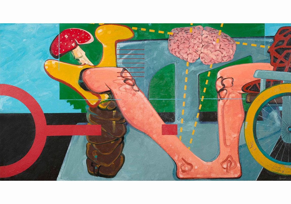 Bir Şehir Heykeli İçin Eskiz, 2014. Tuval üzerine yağlıboya, 150 x 287 cm (diptik)Sketch For A City Sculpture, 2014. Oil on canvas, 150 x 287 cm (diptych)Fotoğraflar: Kayhan Kaygusuz