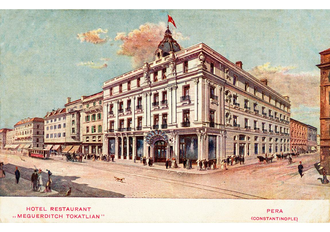 Tokatlıyan Oteli'ni gösteren taşbaskı kartpostal, Tarihsiz Pierre de Gigord Koleksiyonu.