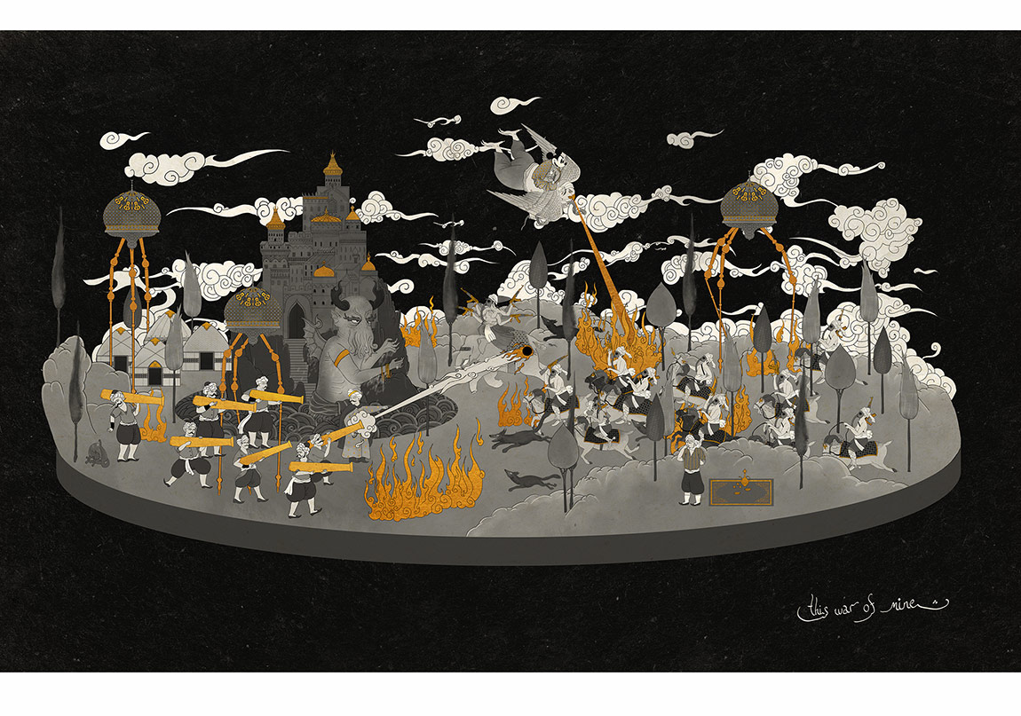 Murat Palta, This war of mine, Fine art kağıt üzerine mono baskı, 57 x 90 cm, 2015