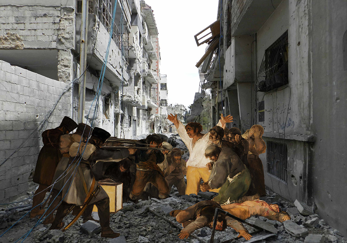 Tammam Azzam, Goya's The 3rd of May 1808, 2012, archival print on canvas, 100 x 133 cm