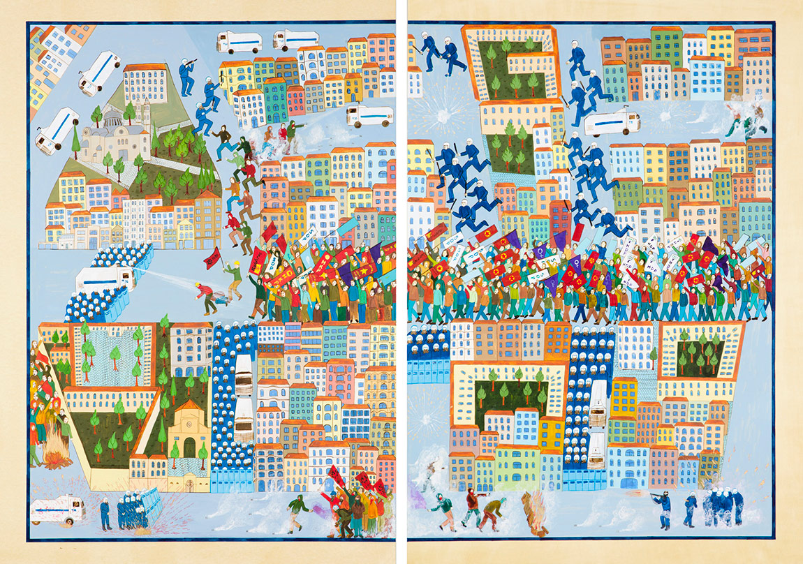 CANANİstiklal Caddesi'nde Direniş (2014)Kâğıt üzerine mürekkep, boyama ve altın varak Sanatçının ve Rampa Galeri'nin izniyleFotoğraf: André Carvalho ve Tuğba Karatop - Chroma