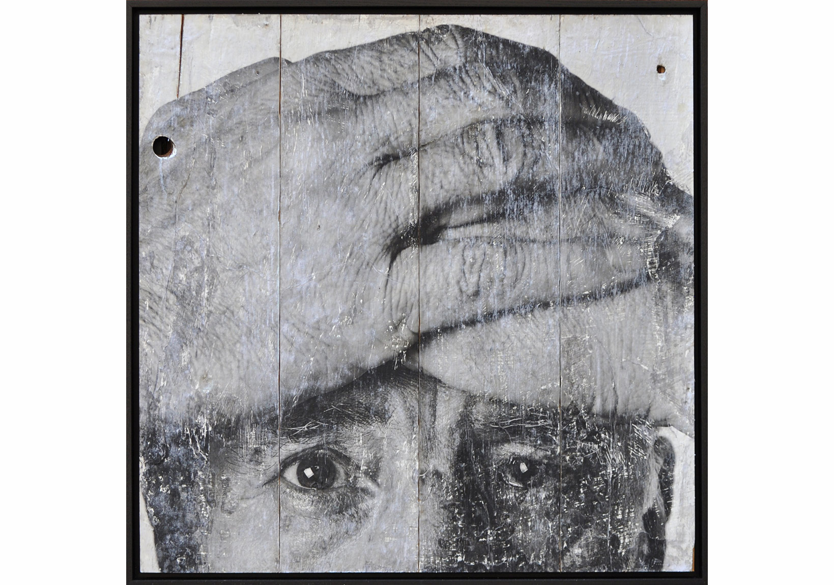 JR, Wrinkles of the City, Istanbul on Wooden Panels, 99x99 cm, Triptych, 2014