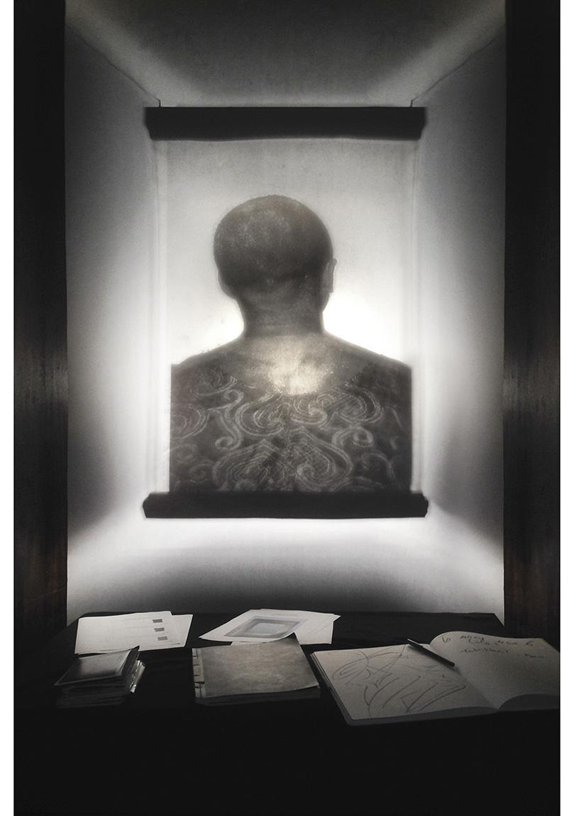 """Ata Kam, """"Nabız"""" (2012), Transparan yüzey üzerine ışık ile yerleştirme görüntüsü, 110x250 cm, 2014"""