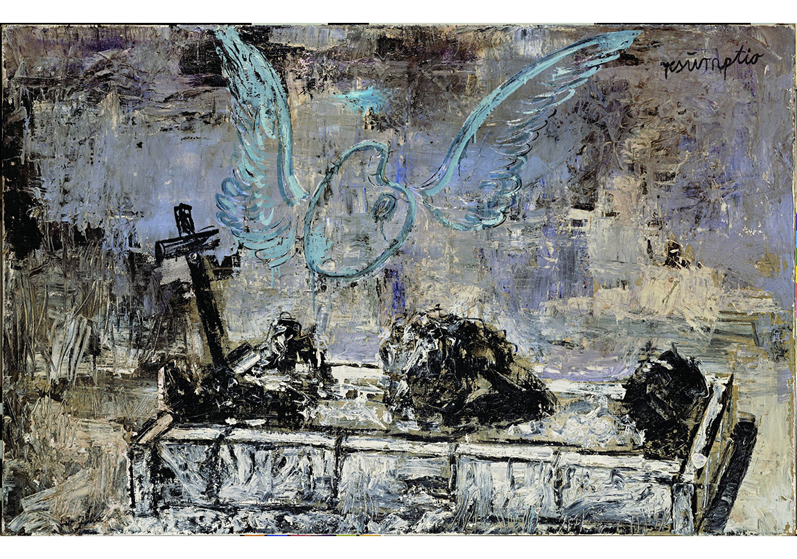 Resumptio, 1974Huile, émulsion et shellacsur toile de jute115 x 180 cmCollection particulièrePhoto : © Atelier Anselm Kiefer