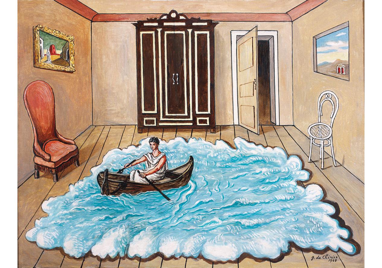 Odysseus'un Geri Dönüşü (1968)Tuval üzerine yağlıboya, 59,5 x 80 cm. Giorgio ve Isa de Chirico Vakfı Koleksiyonu