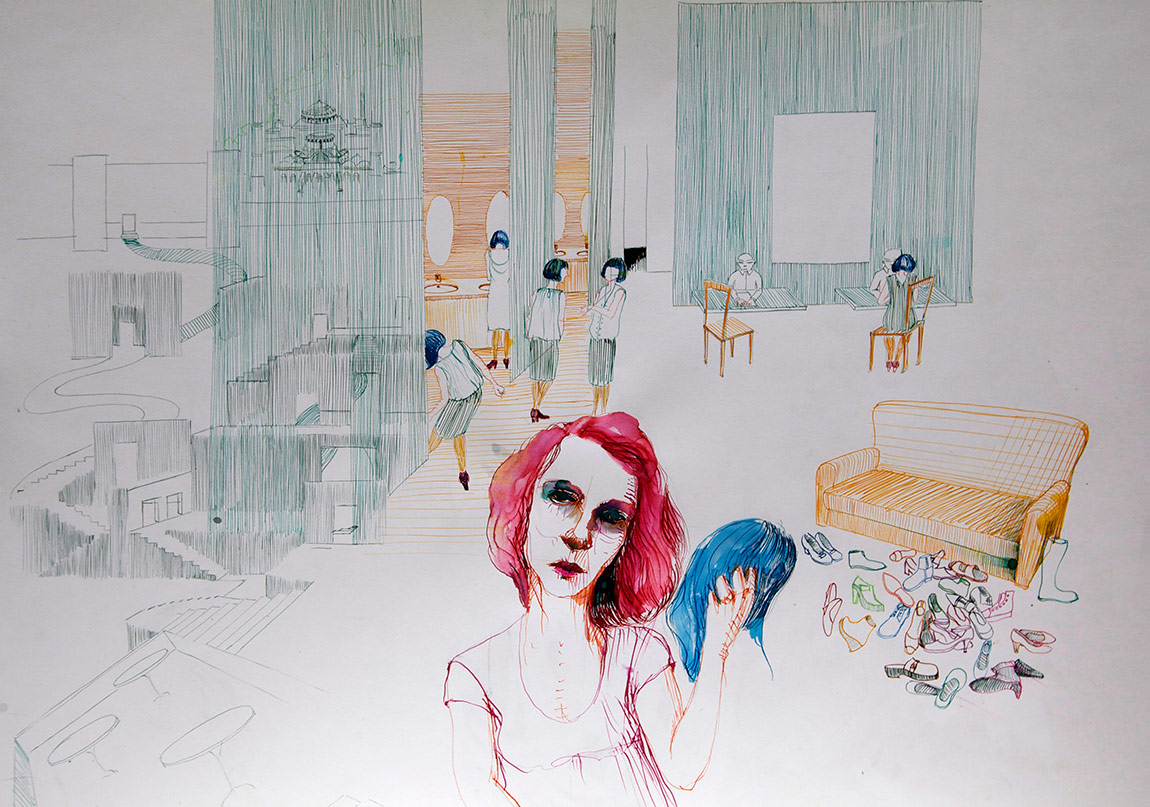 Ruya Notlari, Mavi Peruk / Blue Peruke, kagit uzerine ecoline,04 2014