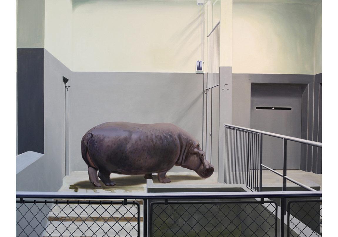 """""""Intérieur et Hippopotame"""", 1970 de Gilles AILLAUD - Courtesy Galerie Loevenbruck © Photo Éric Simon"""