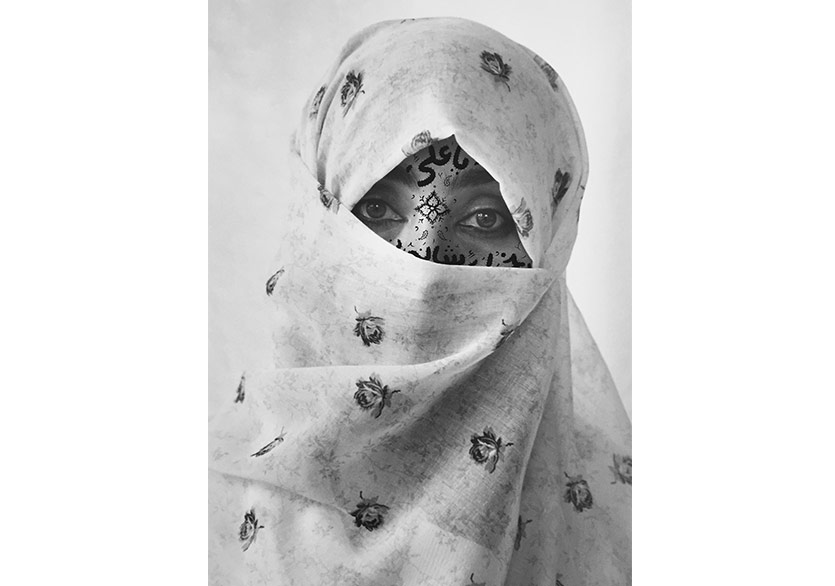 ShirinNeshat; Untitled, from Women of Allah series, 1995; Ink on gelatin silver print 101.6x152.4 cm