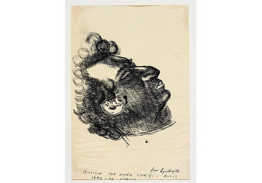 Bedri Rahmi Portre, 1947 Kağıt Üzerine Mürekkep