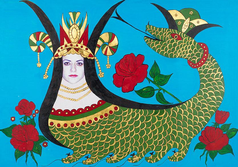 Şahmeran 2011 Minyatür Aharlı kâğıt üzerine altın ve asetat üzerine fotoğraf baskısı 67 x 91 cm (çerçeveli)
