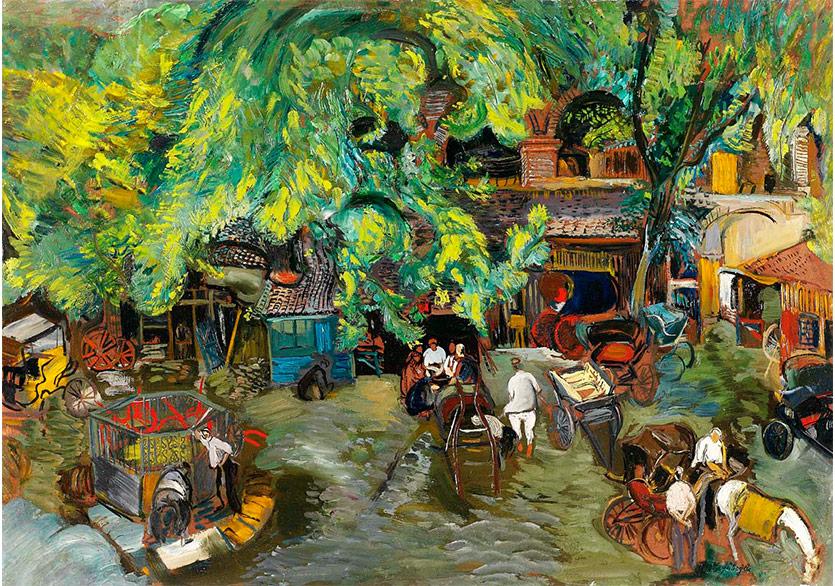 Bursa Pekmez Han, 1942 Kontraplak Üzerine Yağlıboya