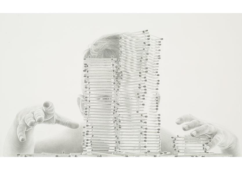 Sinan DemirtaşProlog,2018Tuval üzerine karakalem, 120 x 200 cm