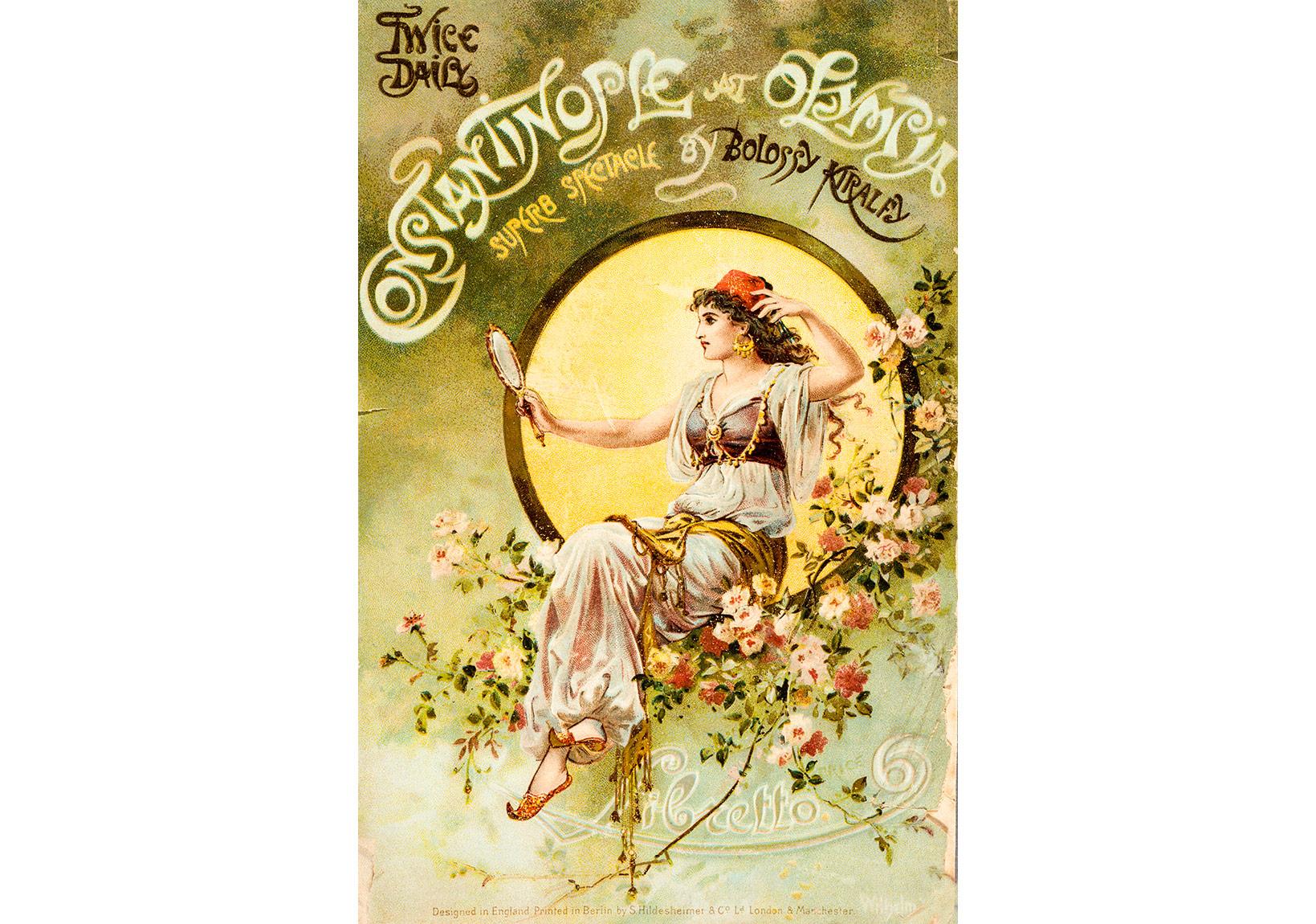 Olympia Tiyatrosu'nda gerçekleştirilen Constantinople adlı gösterinin kitapçığı. Yönetmen Bolossy Kiralfy Londra, 1893, Pierre de Gigord Koleksiyonu.