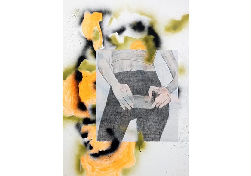 Zeynep Beler, Selfie, 2017, Bristol Üzerine Sprey Boya, Akrilik ve Kurşun Kalem,100x70 cm.