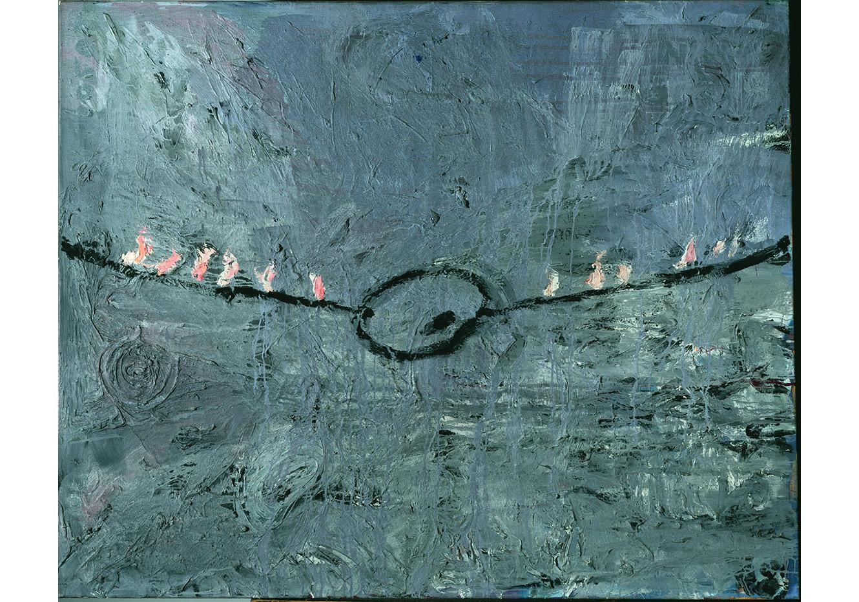 Palette am Seil [Palette suspendue à une corde], 1977 Huile, acrylique, émulsion et shellac sur toile130 x 160 cmStädtische Galerie im Lenbachhaus und Kunstbau, Munich Photo : © Städtische Galerie im Lenbachhaus und Kunstbau, Munich