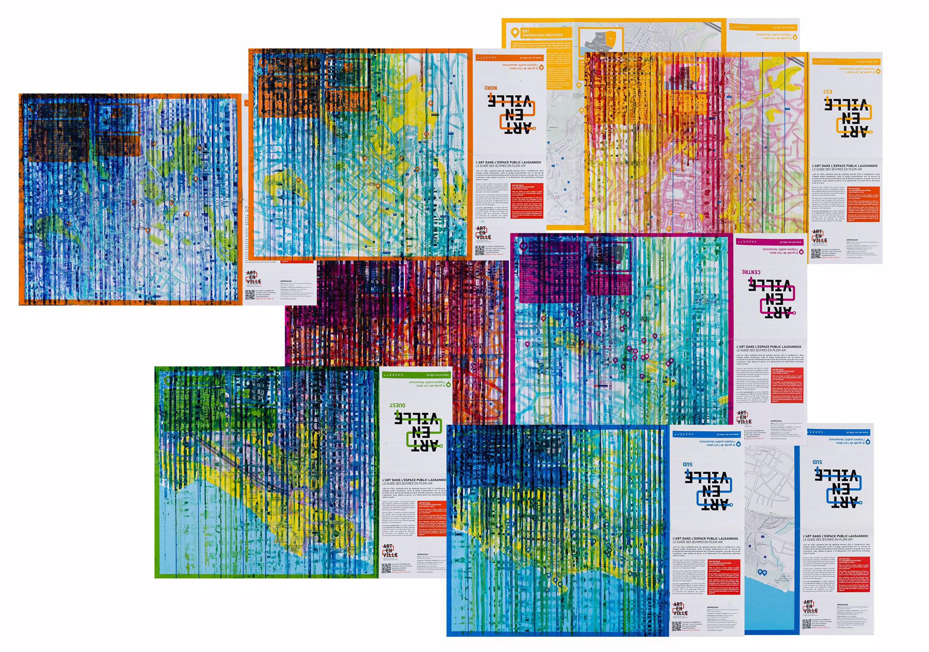 Seçil Erel, Olduğu gibi 1-2, 2015, harita üzerine suluboya, 10 adet 42x59cm MASA SUNUMU masa 100x125cm