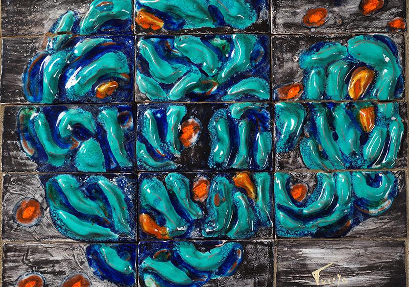Seramik pano, 36 × 45 cm, Rabia Çapa Koleksiyonu
