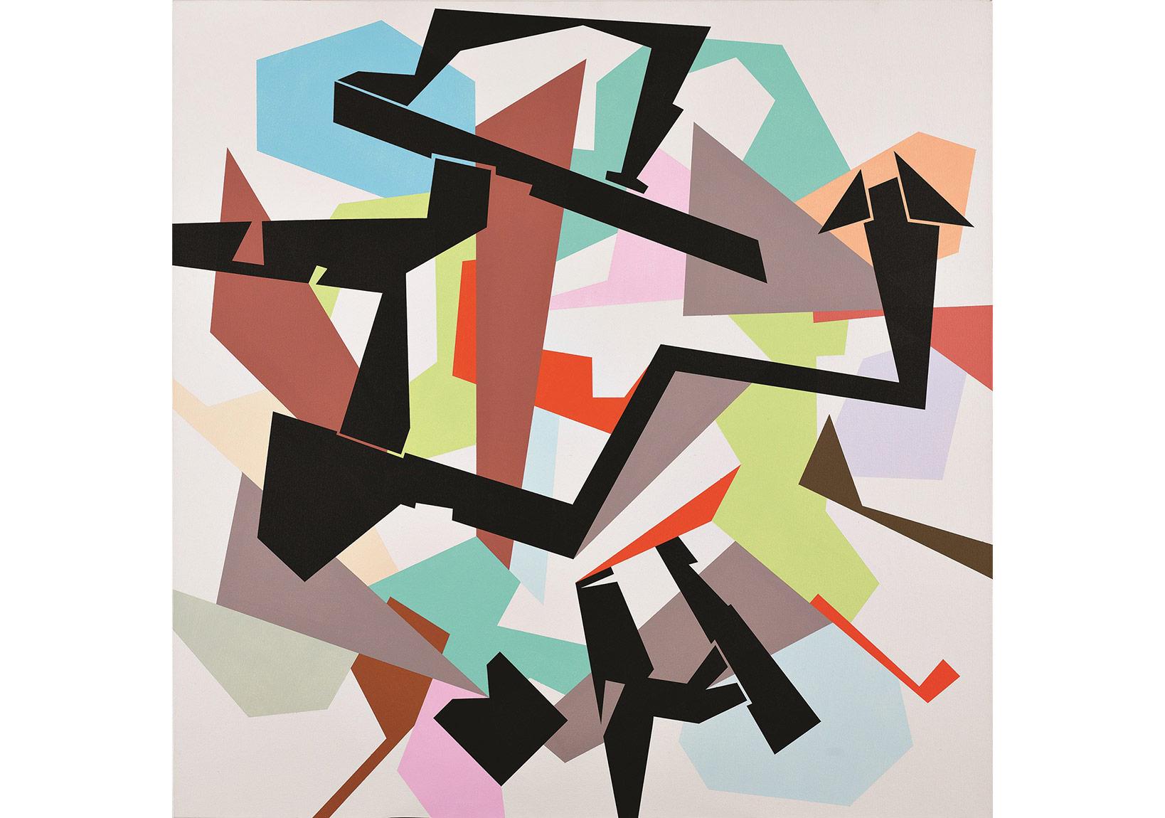 Utku Dervent, kžskžvrak stalemate, 120x120, acrylicon canvas, 2014