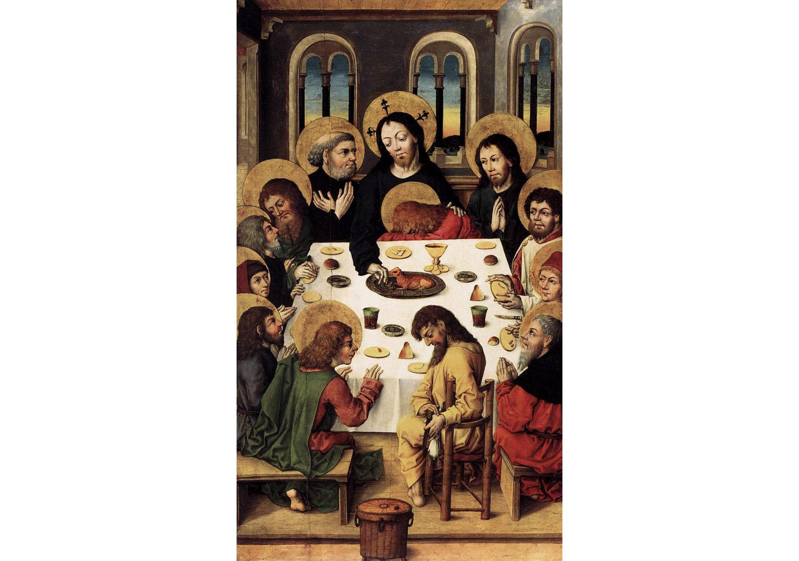 Kitap Ustaları (anonim),Son Akşam Yemeği,1475-80, meşe panel üzerine tempera, 131 x 76 cm Staatliche Museen, Berlin