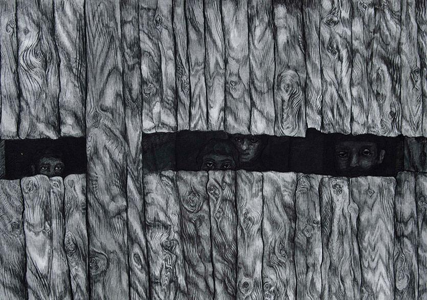 Sadık Arı-isimsiz 2017 kağıt üzerine mürekkep, 15x20cm