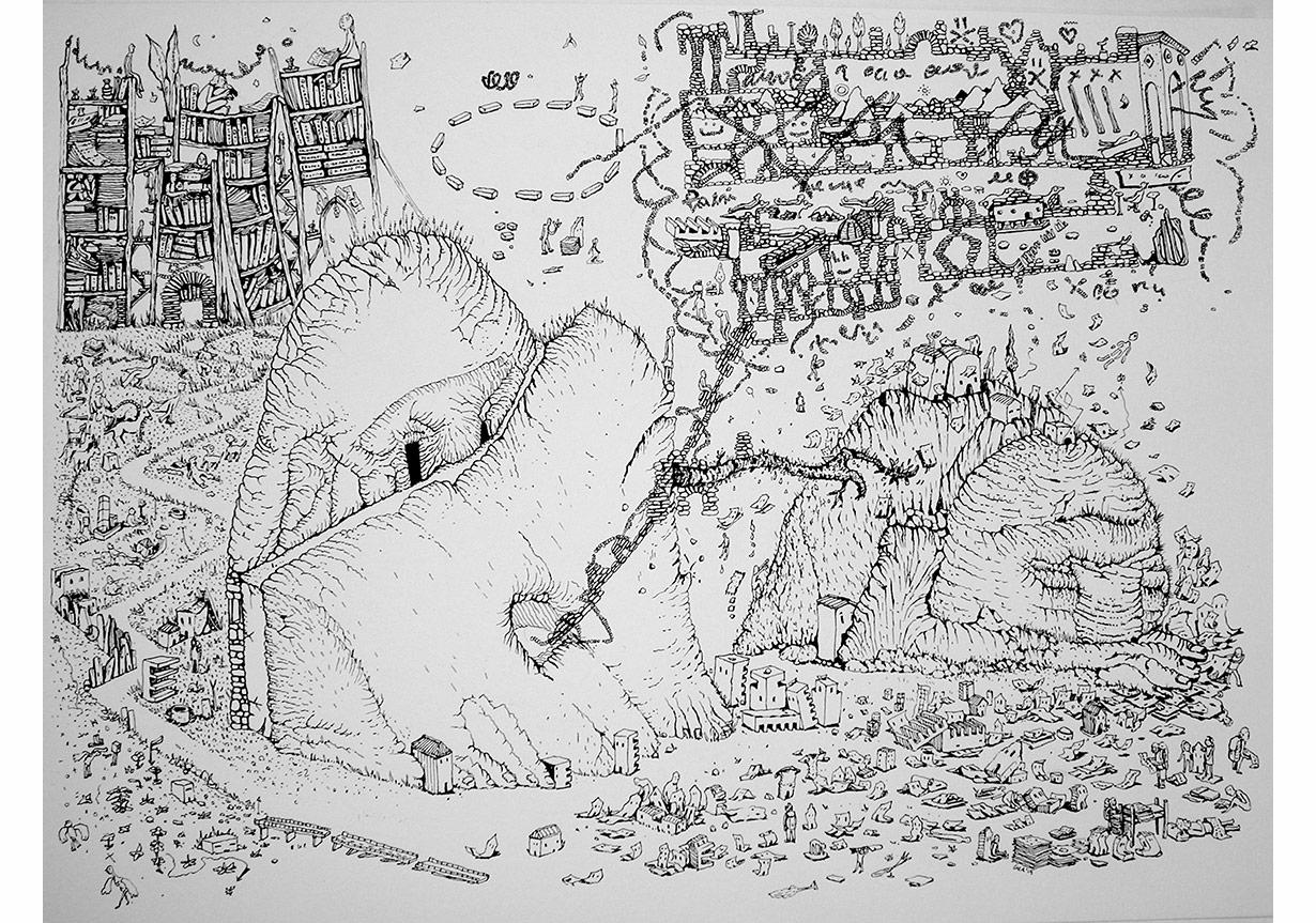 """Ceren Oykut, """"Duruşma""""Kağıt üzerine mürekkep , 28 x 38 cm, 2015"""