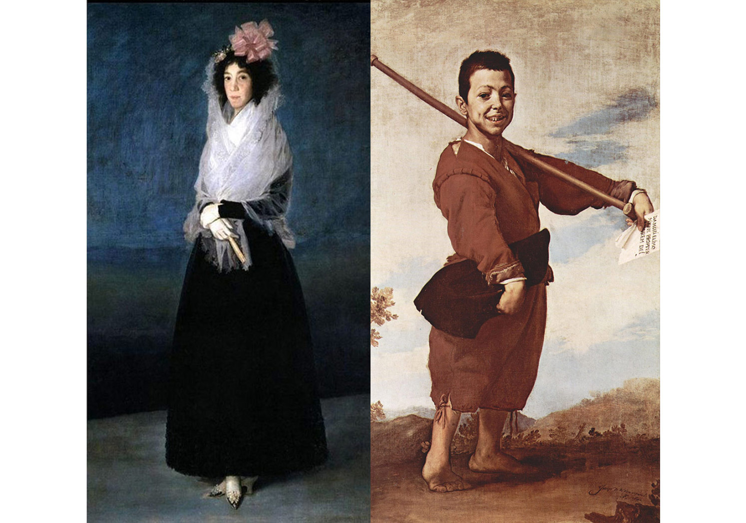 Francisco Goya Lucientes, Countess del Carpio, Marquise of La Solana, Madrid circa 1793 ve Jusepe de Ribera, Boy with Club-Foot, Naples, 1642. (Valerie METTAIS, Louvre-7 Centuries of Painting, 243, 186.)